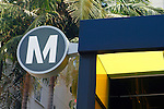 USA, California, Los Angeles. Los Angeles Metro station sign.