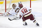 Parker Milner (BC - 35), Joe Whitney (BC - 15) - The Boston College Eagles defeated the visiting University of Massachusetts-Lowell River Hawks 5-3 (EN) on Saturday, January 22, 2011, at Conte Forum in Chestnut Hill, Massachusetts.