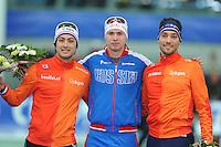 SPEED SKATING: STAVANGER: Sørmarka Arena, 31-01-2016, ISU World Cup, Podium combined ranking 500-1000m Men, Kai Verbij (NED), Pavel Kulizhnikov (RUS), Kjeld Nuis (NED), ©photo Martin de Jong