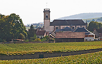 Vineyard. Pommard village with church. Pommard, Cote de Beaune, d'Or, Burgundy, France