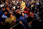 Inchon, South Korea<br /> December 8 1987<br /> <br /> Massive crowds come to see Kim Dea-jong, the opposition leader to the ruling party campaigning during the South Korean presidential elections. <br /> <br /> Kim Dae-jung (3 December 1925 to 18 August 2009) was President of South Korea from 1998 to 2003, and the 2000 Nobel Peace Prize recipient. As of this date Kim is the first and only Nobel laureate to hail from Korea. A Roman Catholic since 1957, he has been called the &quot;Nelson Mandela of Asia&quot; for his long-standing opposition to authoritarian rule.
