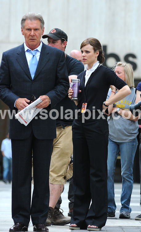 "**ALL ROUND PICTURES FROM SOLARPIX.COM**.**SYNDICATION RIGHTS FOR UK, AUSTRALIA, DENMARK, PORTUGAL, S. AFRICA, SPAIN & DUBAI (U.A.E) ONLY**.""Morning Glory"" Filming in Midtown Manhattan, New York, USA. June 23, 2009..This pic: Harrison Ford and Rachel McAdams..JOB REF: 9328 PHZ (Mayer)   DATE: 23_06_2009.**MUST CREDIT SOLARPIX.COM OR DOUBLE FEE WILL BE CHARGED**.**ONLINE USAGE FEE GBP 50.00 PER PICTURE - NOTIFICATION OF USAGE TO PHOTO @ SOLARPIX.COM**.**CALL SOLARPIX : +34 952 811 768 or LOW RATE FROM UK 0844 617 7637**"
