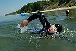 Marathon swimmer Jim Dreyer of Michigan trains in preparation for an attempt to swim across Lake Superior in 2004.  Photo by Dan Irving.
