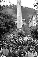 Protest march by students at the University of California at Berkeley against United States envolvment in Southeast Asia. Thousands marched from the Campanile to Sproul Plaza. (photo 1970 by Ron Riesterer)