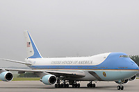 ATLANTA, GA - AUG 2, 2010: Air Force One at Dobbins Air Reserve Base in Marietta, Georgia where President Barack Obama arrived. President Obama was in town to give a speech to the Disabled Veterans of America Conference and to deliver remarks at a Democratic National Committee fundraiser in downtown Atlanta.