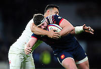 Clement Maynadier of France is tackled by Ben Te'o of England. RBS Six Nations match between England and France on February 4, 2017 at Twickenham Stadium in London, England. Photo by: Patrick Khachfe / Onside Images