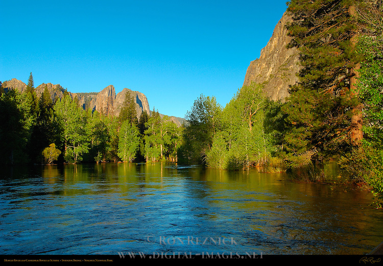 Merced River and Cathedral Rocks at Sunrise from Swinging Bridge, Yosemite National Park