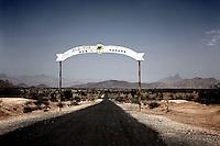 A signpost on a desert road in western Eritrea..