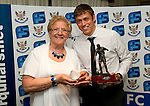 St Johnstone FC Players Awards Night...01.05.11  Lovatt Hotel Perth..Murray Davidson is presented with the Jeanfield 208 Supporters Club Clubman of the Year Award from Gert Gordon..Picture by Graeme Hart..Copyright Perthshire Picture Agency.Tel: 01738 623350  Mobile: 07990 594431