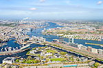 Nederland, Noord-Holland, Amsterdam, 09-04-2014;<br /> Overzicht Marineterrein en omgeving, linksbeneden het Scheepvaartmuseum, Kattenburg, de IJtunnel en museum Nemo, verder Oosterdokseiland,  Centraal Station. Boven in beeld het IJ, Amsterdam West en Noord.<br /> View on Navy area (center) and the National Maritime Museum (white building), left Museum Nemo, central station, newly constructed buildings. Top right the North of Amsterdam. <br /> luchtfoto (toeslag op standard tarieven);<br /> aerial photo (additional fee required);<br /> copyright foto/photo Siebe Swart