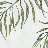 Palm, a hand-cut stone mosaic, shown in polished Thassos and Chartreuse.