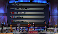 Group E is shown on the display during the FIFA Final Draw for the FIFA World Cup 2010 South Africa held at the Cape Town International Convention Centre (CTICC) on December 4, 2009.