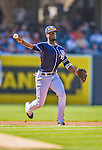 22 June 2013: San Diego Padres infielder Pedro Ciriaco in action against the Los Angeles Dodgers at Petco Park in San Diego, California. The Dodgers defeated the Padres 6-1 in the third game of their 4-game Divisional Series. Mandatory Credit: Ed Wolfstein Photo *** RAW (NEF) Image File Available ***