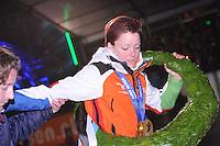 SCHAATSEN: AMSTERDAM: Olympisch Stadion, 28-02-2014, KPN NK Sprint/Allround, Coolste Baan van Nederland, Huldiging Olympische medaillewinnaars, Jorien ter Mors, ©foto Martin de Jong
