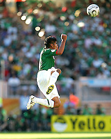 Carlos Salcida of Mexico soars upward to meet a header. Mexico defeated Iran 3-1 during a World Cup Group D match at Franken-Stadion, Nuremberg, Germany on Sunday June 11, 2006.