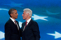 CHARLOTTE, NC - September 5, 2012: President Barack Obama comes out from backstage following remarks by former President Bill Clinton at the 2012 Democratic National Convention.