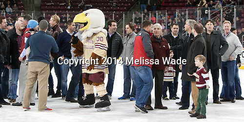 - The visiting University of Notre Dame Fighting Irish defeated the Boston College Eagles 2-1 in overtime on Saturday, March 1, 2014, at Kelley Rink in Conte Forum in Chestnut Hill, Massachusetts.
