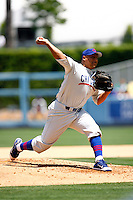 4 May 2011:  Starting pitcher #28 Carlos Zambrano on the mound.  Carlos threw 107 pitches, 70 strikes during this game.  The Cubs defeated the Dodgers 5-1 during a Major League Baseball game at Dodger Stadium in Los Angeles, California.  Dodgers players are wearing Brooklyn Dodger 1940's throwback jersey uniforms and the Chicago Cubs are also wearing throwback retro jersey uniforms. **Editorial Use Only**