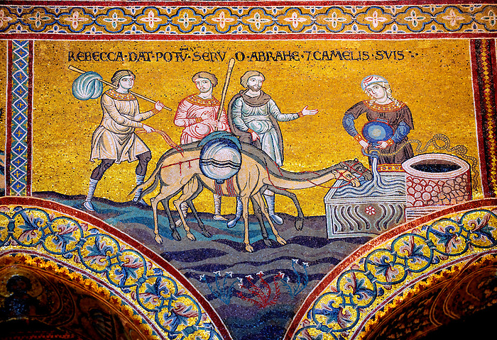 Byzantine mosaics in the Cathedral of Monreale - Rebecca waters Abrahams camels - Palermo - Sicily Pictures, photos, images & fotos photography