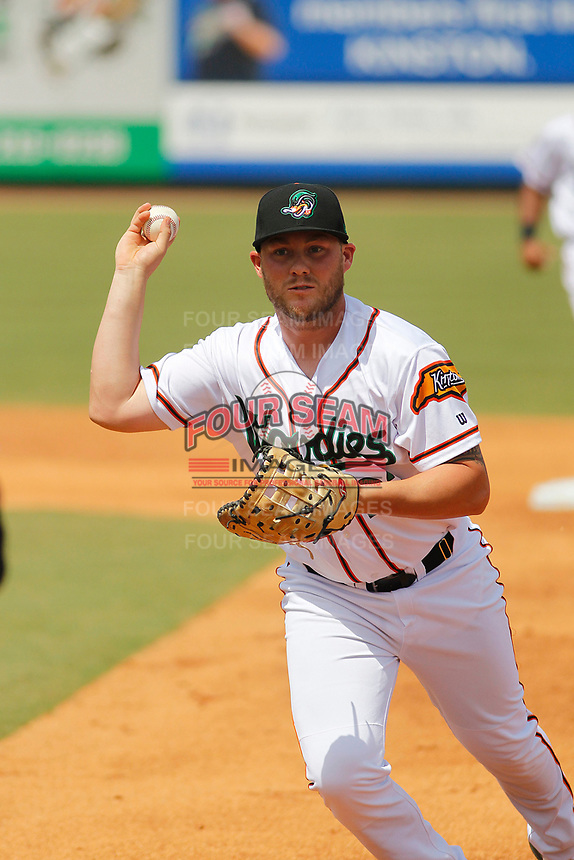 Down East Wood Ducks first baseman Chuck Moorman (22) throwing out a runner during a game against the Salem Red Sox at Grainger Stadium on April 16, 2017 in Kinston, North Carolina. Salem defeated Down East 9-2. (Robert Gurganus/Four Seam Images)