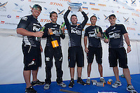Adam Minoprio holds aloft the trophy for wining Match Race Germany 2010. World Match Racing Tour. Langenargen, Germany. 24 May 2010. Photo: Gareth Cooke/Subzero Images/WMRT