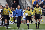 04 December 2011: Referee Rachel Woo (2nd from right) leads the other match officials onto the field before the game. The Stanford University Cardinal defeated the Duke University Blue Devils 1-0 at KSU Soccer Stadium in Kennesaw, Georgia in the NCAA Division I Women's Soccer College Cup Final.