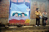 A man and woman stand next to a poster demonstrating mosquito nets provided to villagers by US Aid in rural Yuanyang Province, Yunnan Province, China.