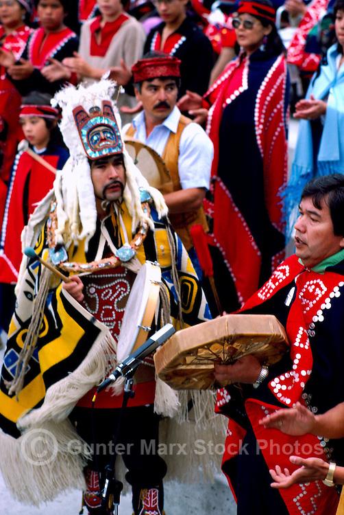 Bella Bella, BC, British Columbia, Canada - Native American Indians in Traditional Ceremonial Regalia celebrating at Pow Wow