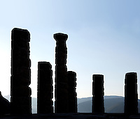 DELPHI, GREECE - APRIL 11 : A view against the light of the 6 remaining Doric columns of the peristasis of the Temple of Apollo at sunrise, on April 11, 2007 in the Sanctuary of Apollo, Delphi, Greece. The ruins of the Temple of Apollo belong to the 4th century BC, the third temple built on the site and completed in 330BC. Its architects were the Corinthians Spintharos Xenodoros and Agathon. (Photo by Manuel Cohen)