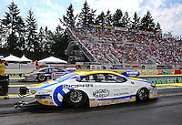 Aug. 2, 2014; Kent, WA, USA; NHRA pro stock driver Allen Johnson during qualifying for the Northwest Nationals at Pacific Raceways. Mandatory Credit: Mark J. Rebilas-USA TODAY Sports
