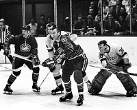 Seals vs. LA Kings (1969 play-off game)Billy Harris and Gerry Ehman in front of Kings goal. Larry Cahan and goalie Gerry Desjardins..Ron Riesterer/photo