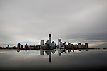 United States, New Jersey. General view of the skyline of Lower Manhattan and One World Trade Center after the pass of the nor'easter winter storm from Exchange Place in New Jersey. 08/11/2012. Photo by Eduardo Munoz Alvarez / VIEWpress.