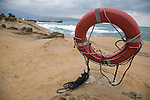 A life preserver ready to rescue those who stray past the danger zone and slip off the rocks at Yehliu Geopark, Taipei County, Taiwan, ROC