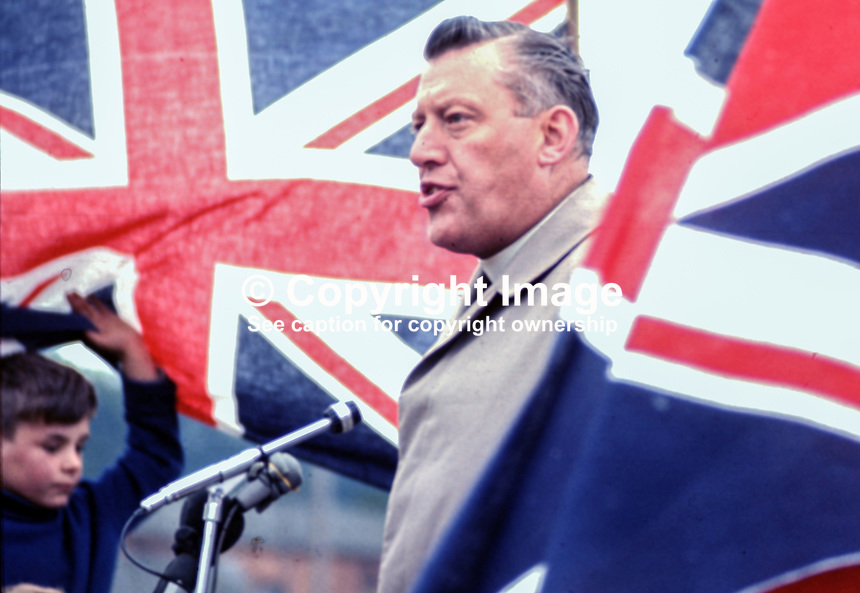 Rev Ian Paisley MP speaking at Independent Orange Order's annual demonstration at Knocknagoney, near Belfast. 1970071110255c, 255/70.<br />