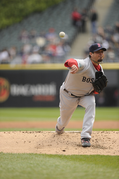 CHICAGO - APRIL 29:  Josh Beckett #19 of the Boston Red Sox pitches against the Chicago White Sox on April 29, 2012 at U.S. Cellular Field in Chicago, Illinois.  The White Sox defeated the Red Sox 4-1.  (Photo by Ron Vesely)   Subject:  Josh Beckett
