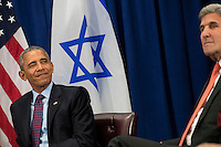 United States President Barack Obama winks during a bilateral meeting with Prime Minister of Israel Benjamin Netanyahu at the Lotte New York Palace Hotel, September 21, 2016 in New York City. Last week, Israel and the United States agreed to a $38 billion, 10-year aid package for Israel. Obama is expected to discuss the need for a &quot;two-state solution&quot; for the Israeli-Palestinian conflict. <br /> Credit: Drew Angerer / Pool via CNP /MediaPunch