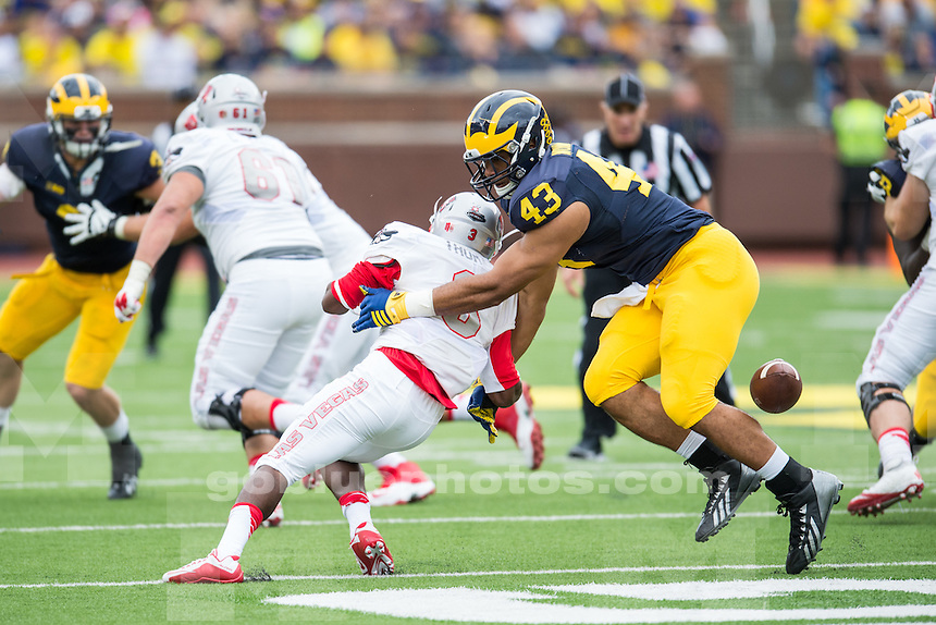 The University of Michigan football team defeats UNLV, 28-7, at Michigan Stadium in Ann Arbor, MI on September 19, 2015.