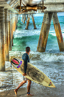Venice Beach; CA, Santa Monica Bay; Pier, Concrete, Washington Street, Pacific Ocean,