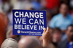 A supporter of 2008 US presidential candidate Barack Obama holds up a sign during a campaign rally, Feb. 19, 2008, at the Guadalupe Cultural Arts Center in San Antonio, Texas. Obama held a round table discussion with members of the local community and then spoke to a crowd of thousands in an outdoor amphitheater. (Darren Abate/PressPhotoIntl.com)