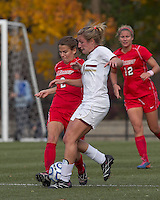 Marist College midfielder Kathryn Hannis (2) and Boston College forward/midfielder Gibby Wagner (10) battle for the ball. Boston College defeated Marist College, 6-1, in NCAA tournament play at Newton Campus Field, November 13, 2011.
