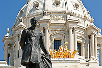 Statue of John Johnson located on the front steps of the Minnesota state capitol in Saint Paul, Minnesota.  John Johnson was the first Minnesota governor born in the state of Minnesota.