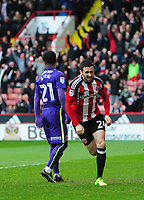 Sheffield United's Danny Lafferty celebrates scoring his sides second goal <br /> <br /> Photographer Chris Vaughan/CameraSport<br /> <br /> The EFL Sky Bet League One - Sheffield United v Charlton Athletic - Saturday 18th March 2017 - Bramall Lane - Sheffield<br /> <br /> World Copyright &copy; 2017 CameraSport. All rights reserved. 43 Linden Ave. Countesthorpe. Leicester. England. LE8 5PG - Tel: +44 (0) 116 277 4147 - admin@camerasport.com - www.camerasport.com
