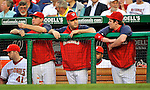20 June 2008: Washington Nationals' first baseman Nick Johnson (center) is flanked by Ryan Zimmerman (left) and Austin Kearns (right), all watching the game from the dugout, and all currently on the Disabled List, as the team faces the Texas Rangers at Nationals Park in Washington, DC. The Nationals rallied in the eighth to tie, and then win 4-3 in the 14th inning of their inter-league matchup...Mandatory Photo Credit: Ed Wolfstein Photo