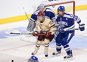 Danny Linell (BC - 10), Tim Kirby (Air Force - 25) - The Boston College Eagles defeated the Air Force Academy Falcons 2-0 in their NCAA Northeast Regional semi-final matchup on Saturday, March 24, 2012, at the DCU Center in Worcester, Massachusetts.