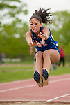 LITCHFIELD,  CT-052017JS02- Nonnewaug's Alexa Spain competes in the long jump during the Berkshire League Outdoor Track and Field Championships Saturday at the Plumb Hill Sports Complex in Litchfield. <br /> Jim Shannon Republican-American