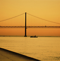 25 de Abril, 25th of April, Bridge connecting Lisbon to the municipality of Almada. Lisbon, Portugal