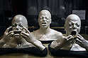 May 12, 2010 - Tokyo, Japan - 'Ghosts lifemasks' are on display at the 'Michael Jackson - The official Lifetime Collection' exhibition, in a hall at the foot of Tokyo Tower, Tokyo, Japan, on May 12, 2010. More than 280 items of Michael Jackson memorabilia including crystal-studded gloves and favorite 1967 Rolls Royce are on display until July 4.  (c) MICHAEL JACKSON ESTATE.