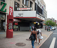 The shuttered Victoria Theater in Harlem just down the block from the Apollo Theater on Monday, September 5, 2011.  The theater is one of the last remaining undeveloped parcels of land on the 125th Street business district.  (© Richard B. Levine)