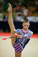 Irina Kovalchuk of Ukraine begins clubs routine with balance at 2006 Trofeo Cariprato in Prato, Italy on June 17, 2006. Irina took 2nd place in this international invitational.  (Photo by Tom Theobald)