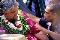 Ka Hula Piko Festival, Moloka'i; John Kaimikaua (left), kumu hula and Festival founder of Festival
